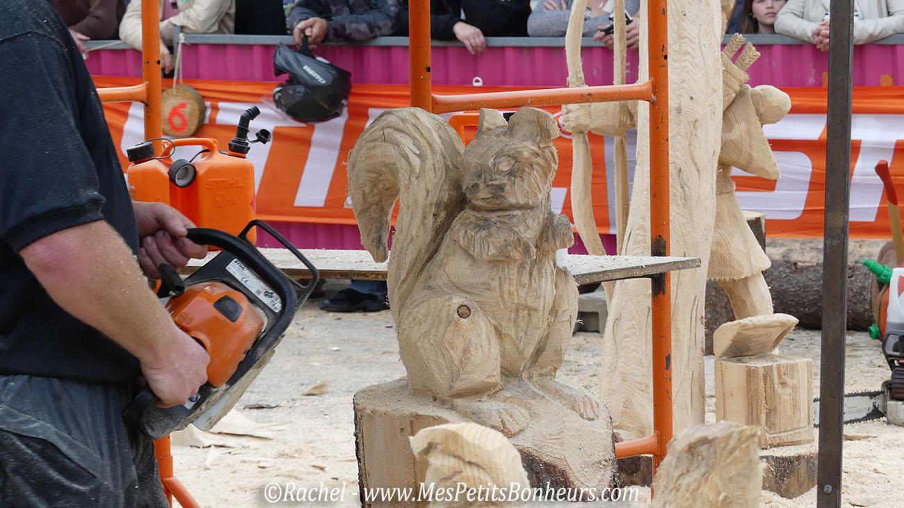 écureuil tronconneuse sculpture bois