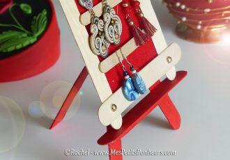 cadre boucle d'oreilles et chevalet bricolage batonnets