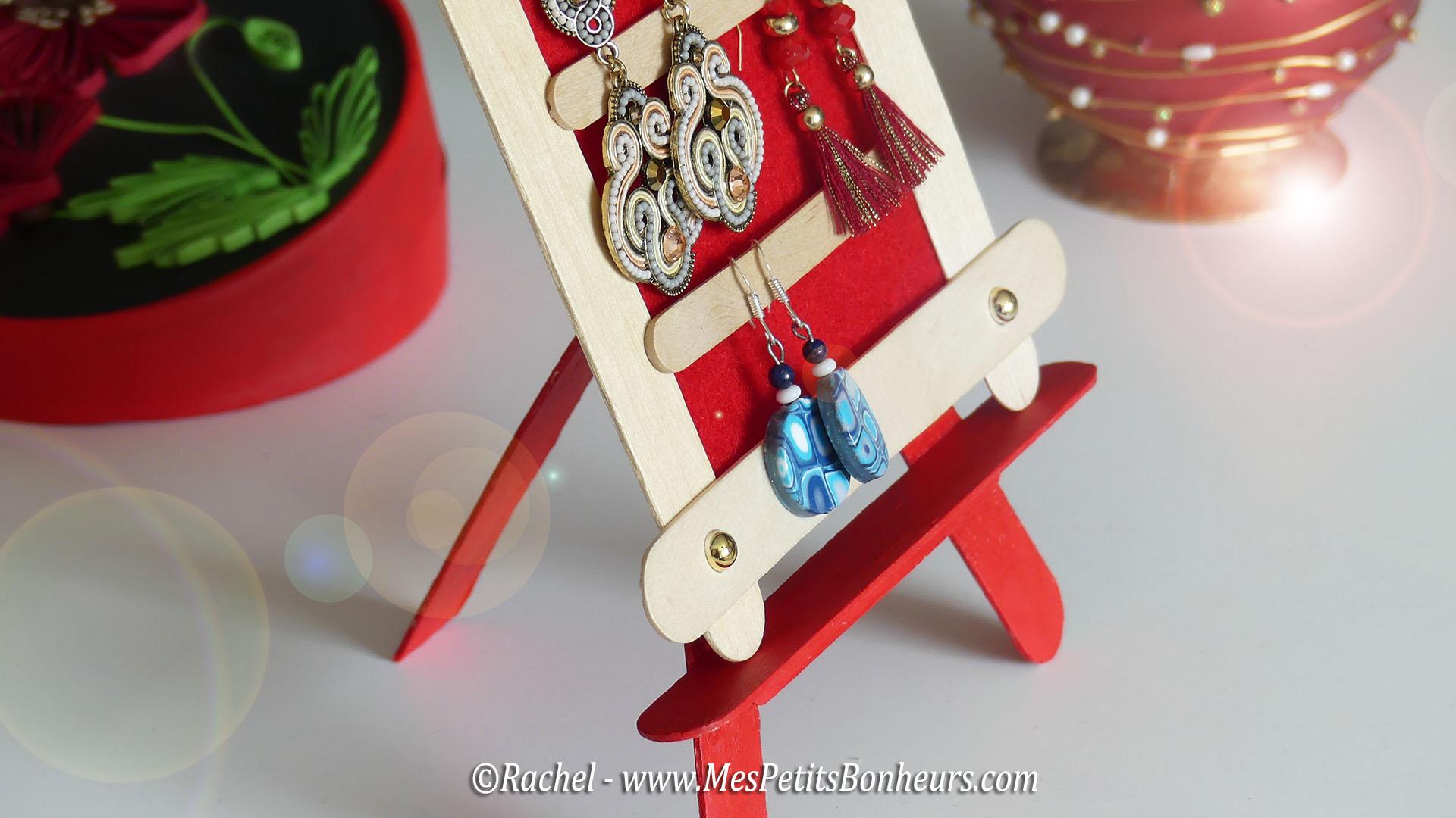 Bricolage en b tonnets cadre et chevalet pour boucles d - Support pour boucles d oreilles ...