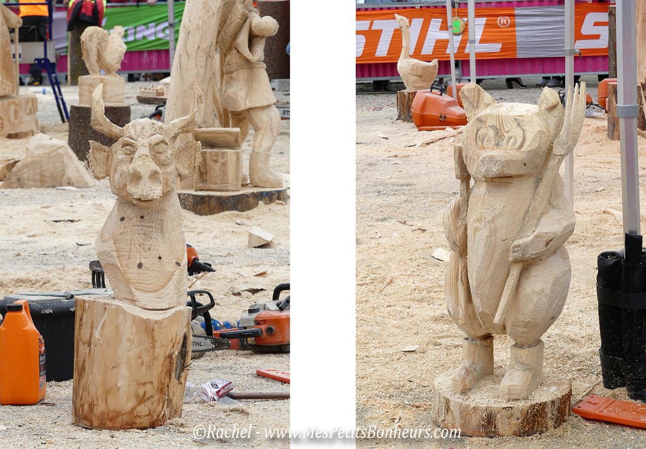 grandvillars 2016 sculpture bois tronconneuse cochon boeuf