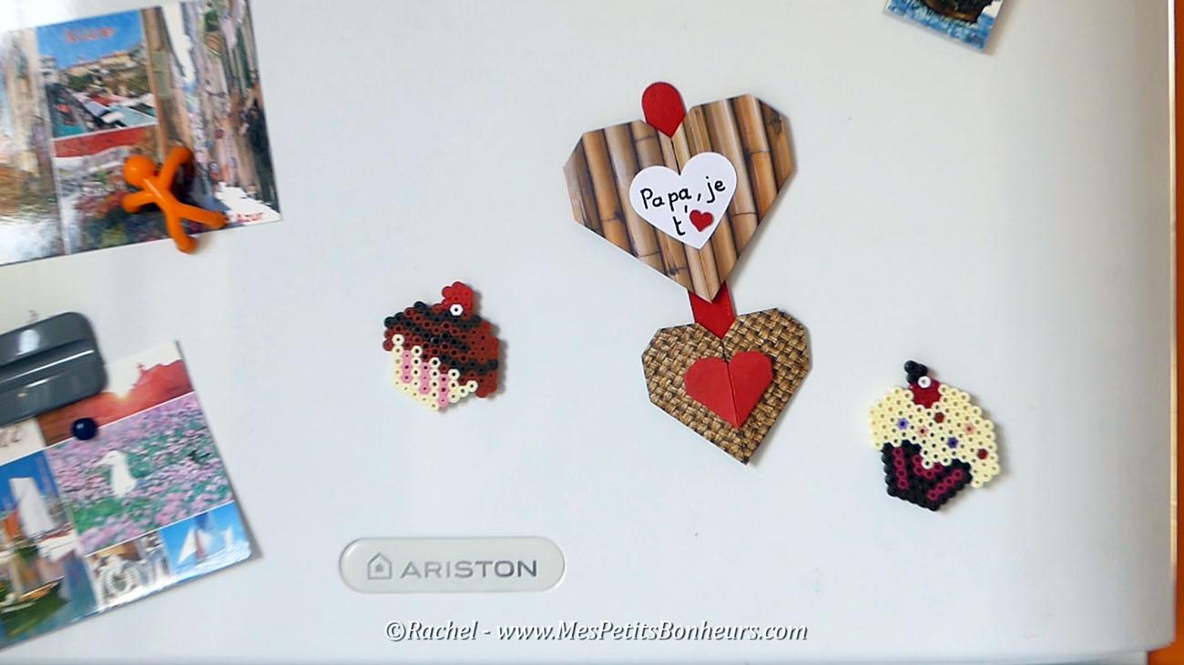 magnet fete des peres bricolage papier coeur origami