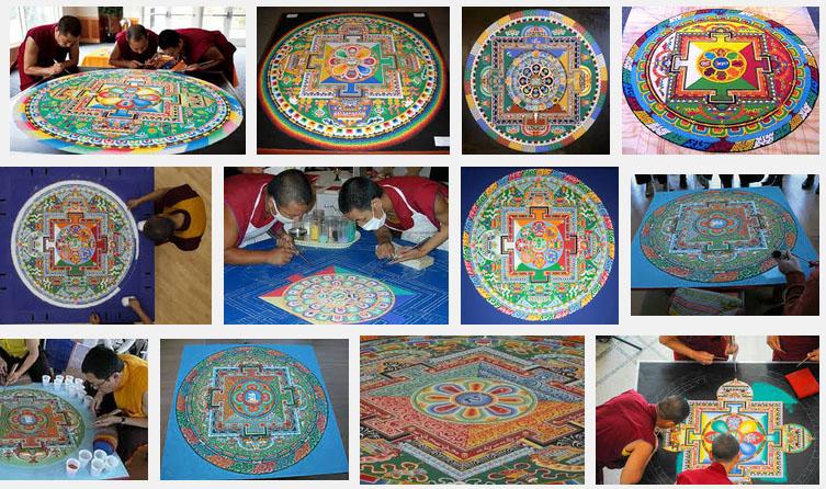 sand mandalas art tibet moines bouddhistes - Dessin Sable Color