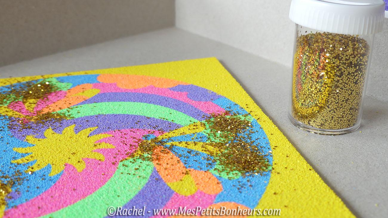paillettes sur tableau sable color - Sable Colore