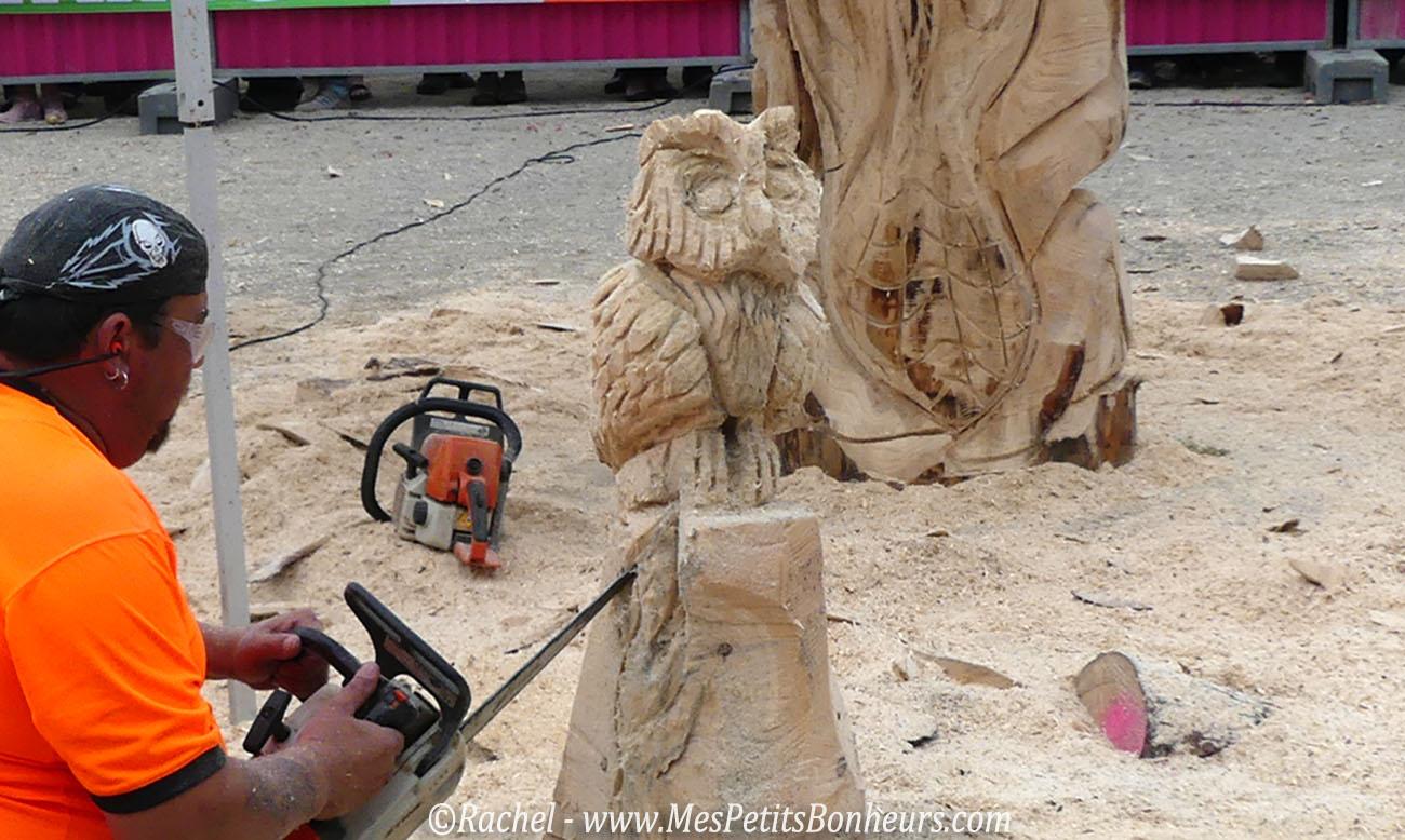 sculpture bois hibou