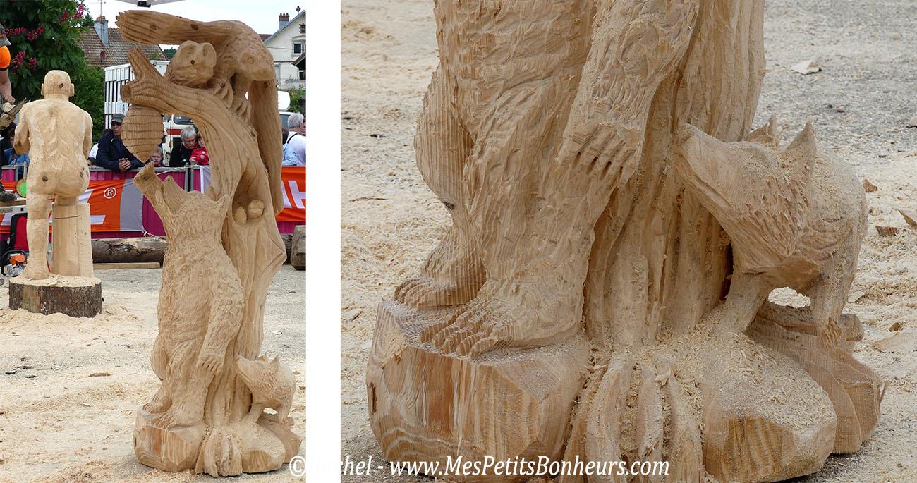 sculpture tronconneuse ourson miel