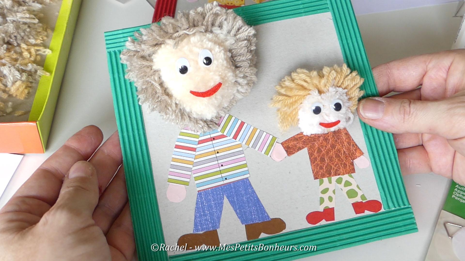 cadeau fete des peres idée bricolage enfant papier et pompons