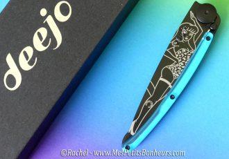 couteau personnalisé pin up bleu