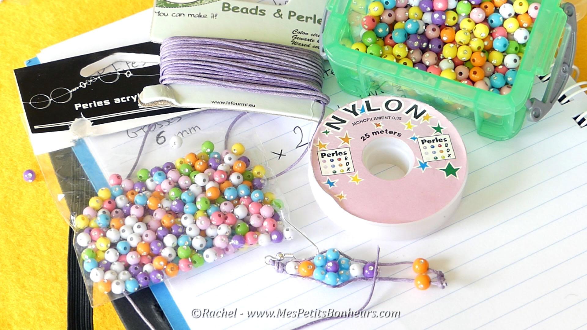 matériel perles coton fil boucles d'oreilles