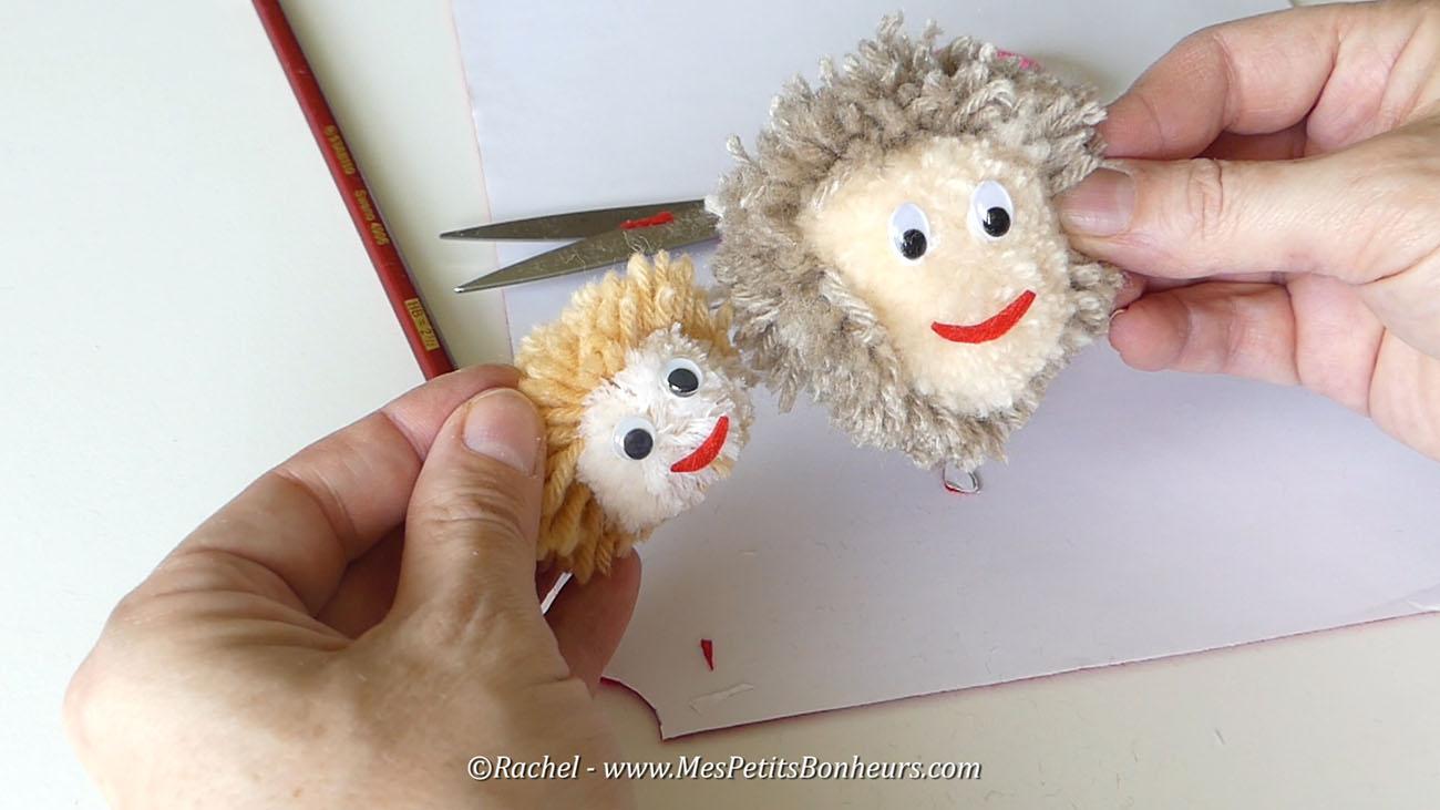 pompons tetes papa et enfant bricolage fete des peres