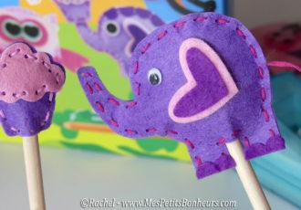 bouts de crayons feutrine elephant et cupcake
