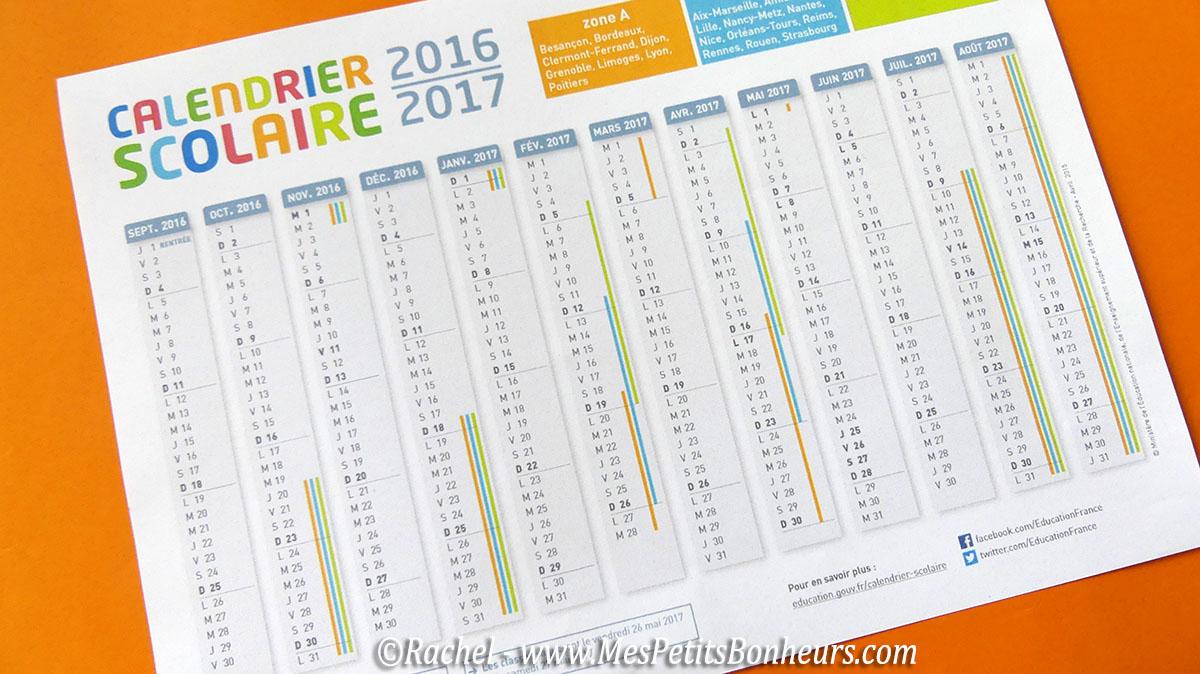 Calendrier scolaire 2016 2017 clair et color imprimer - Vacances scolaires 2016 2017 paris ...
