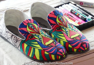chausson coloriés feutres textiles
