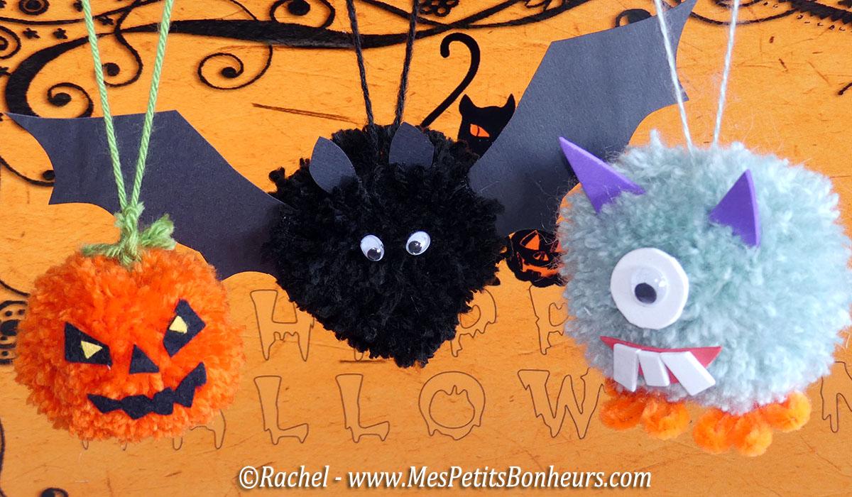 Halloween en pompons bricolage enfants facile et amusant Bricolage maternelle halloween