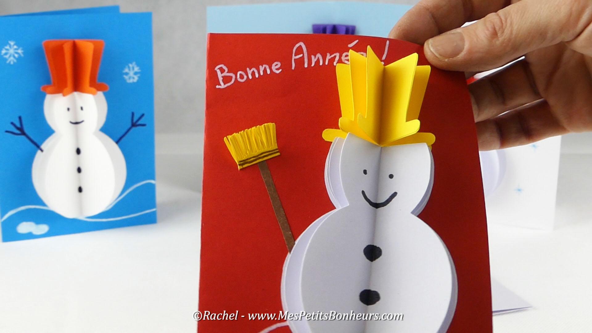 Bricolage hiver carte bonhomme de neige 3d gabarit et tuto - Fabriquer un bonhomme de neige ...
