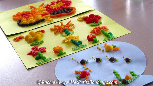 Activité enfant avec des pâtes: tableau en collage de la maternelle