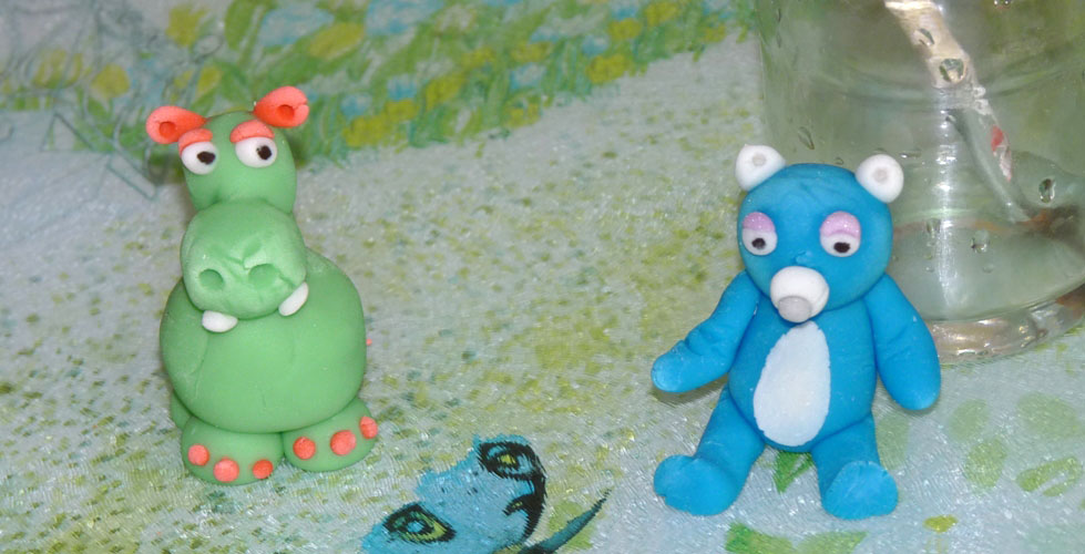 animaux pate a modeler hippopotame et ours