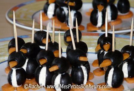 Id e pour un ap ro rigolo poissons radis et pingouins manchots en olive carotte - Idee apero noel original ...