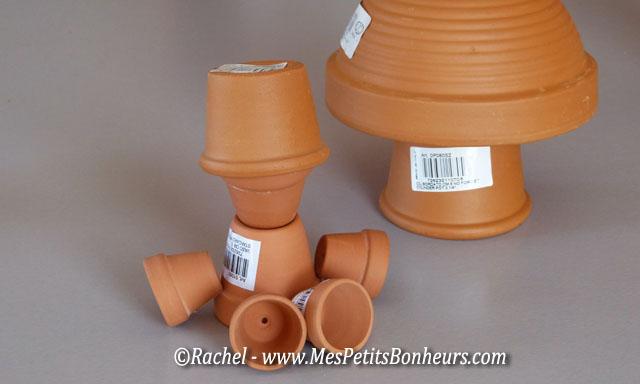 Activit d co avec des minis pots de fleurs pouvantail et champignon - Comment faire des personnages en pots de terre cuite ...