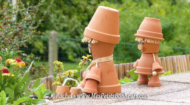 bonhommes en pots de fleurs – bricolage pour déco de jardin