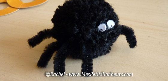 bricolage d co halloween araign e pompon et sa toile de. Black Bedroom Furniture Sets. Home Design Ideas