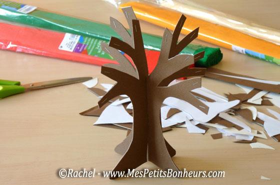 Arbre d automne pour un bricolage en 3d en papier et cr pon - Bricolage d automne avec des feuilles d arbre ...