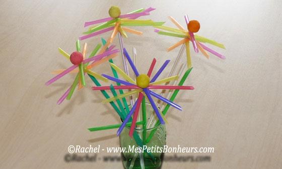 bricolage – fleurs en pailles pour un bouquet original