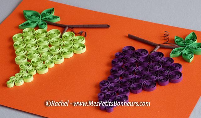 Bricolage sur le th me du raisin grappes en papier roul tableau d 39 automne en quilling - Activite avec papier crepon ...
