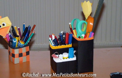 bricolage rangement crayons des pots d co avec le recyclage de bo tes de soupe. Black Bedroom Furniture Sets. Home Design Ideas
