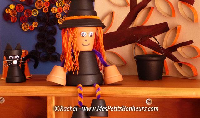bricolage halloween sorci re et chat d co en petits pots. Black Bedroom Furniture Sets. Home Design Ideas