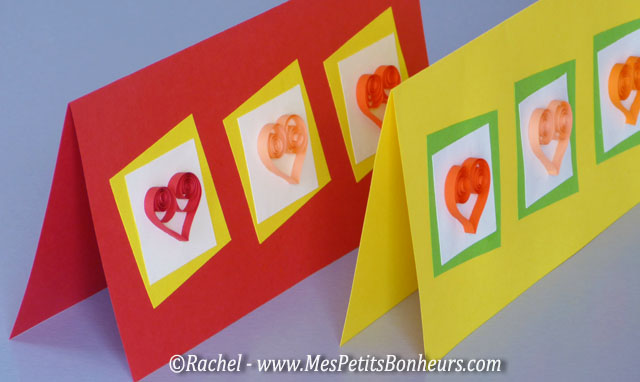 quilling cartes de saint valentin avec coeurs en papiers roul s. Black Bedroom Furniture Sets. Home Design Ideas
