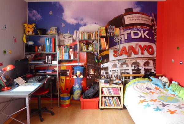 Dcor peint dans chambre denfant sur le thme de londre bed mattress sale - Deco chambre londres ...