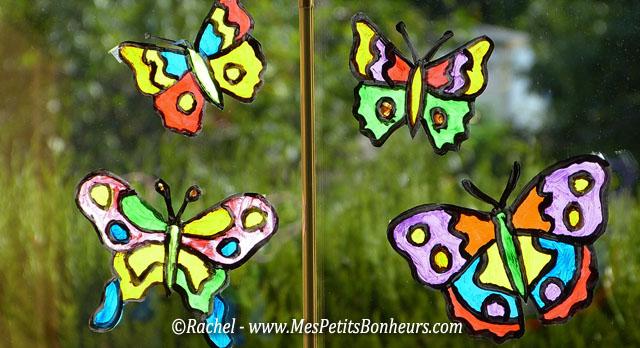 Bricolage papillon effet vitrail pour d co de fen tre - Peindre sur une vitre ...