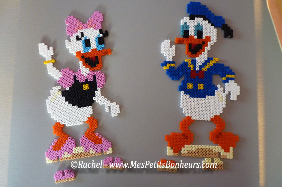 Donald et daisy en perles hama mod les perles repasser - Perles a coller fer a repasser ...