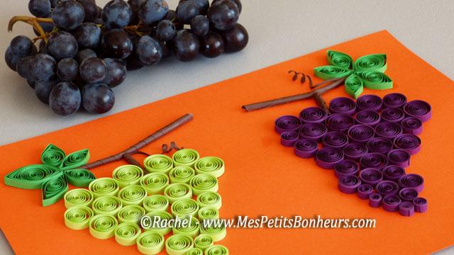 Bricolage Sur Le Th Me Du Raisin Grappes En Papier Roul Tableau D 39 Automne En Quilling