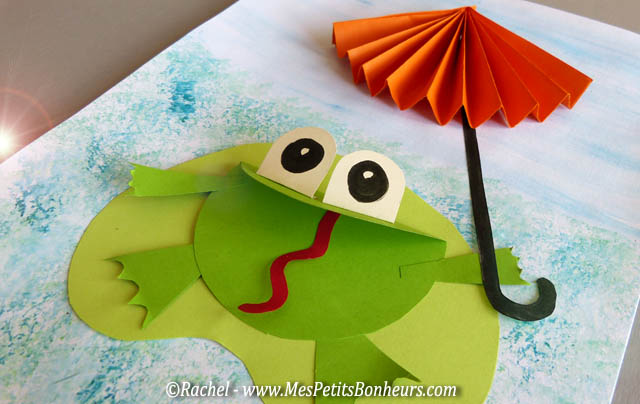 Bricolage grenouille et parapluie - Découpage collage pour jour de pluie !
