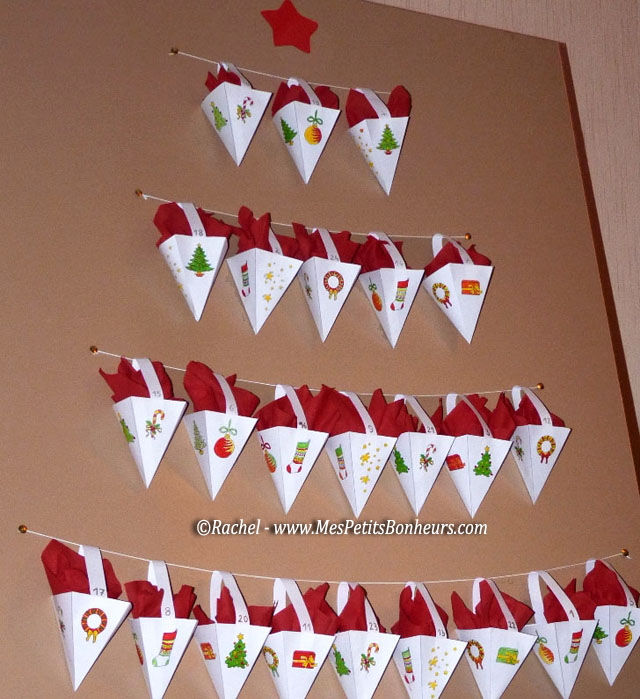 Easy advent calendar free printable paper craft tutorial - Calendrier de l avent facile a faire ...