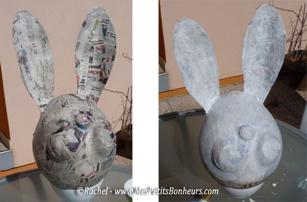 Bricolage lapin de p ques en papier m ch pour d co de for Gros objet deco