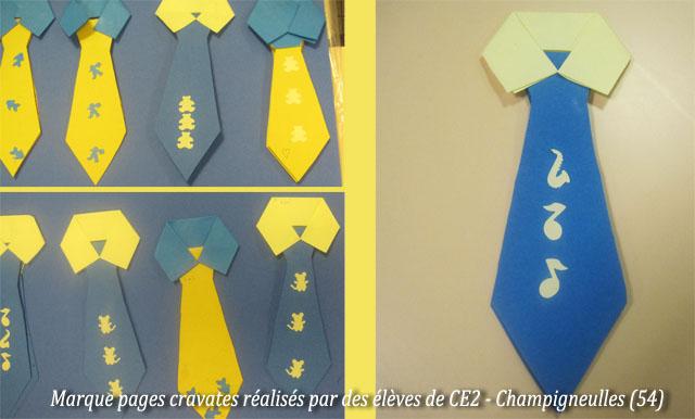 Bricolage f te des p res marque page cravate imprimer d coupage pliage - Marque page en papier ...