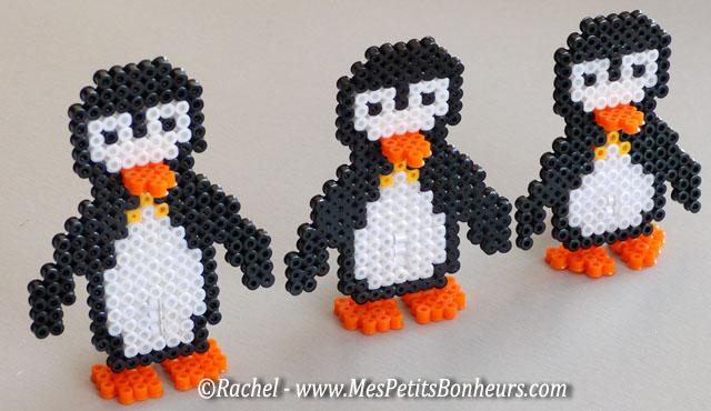 modèles pingouins perles hama trois tailles