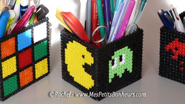Pac man en perles hama bricolage de tim pour un 2e pot - Bricolage pot a crayon facile ...