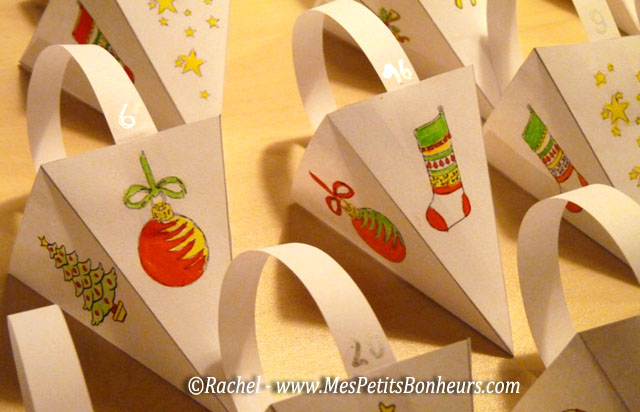 Easy advent calendar free printable paper craft tutorial - Chaussette de noel a fabriquer ...