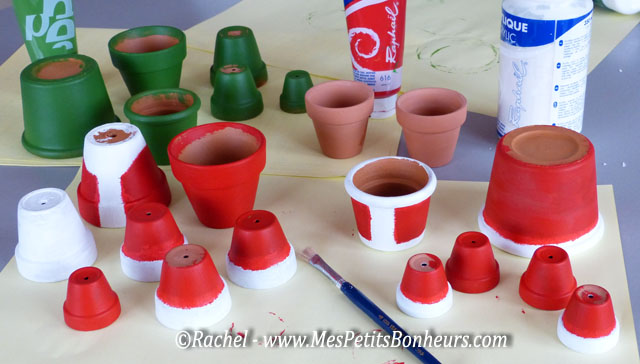 Diy santa claus and wife craft with flower pots tutorial - Decoration avec des pots de fleurs ...