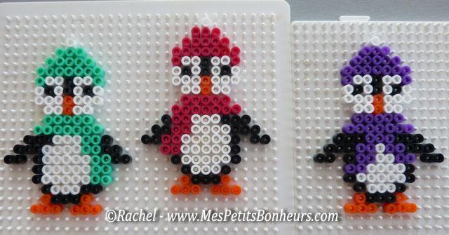 pingouins perles hama modèles vert rose et violet
