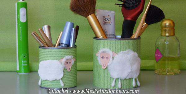 Bricolage enfant pour la f te des m res pots maquillage avec moutons - Pot a maquillage ...
