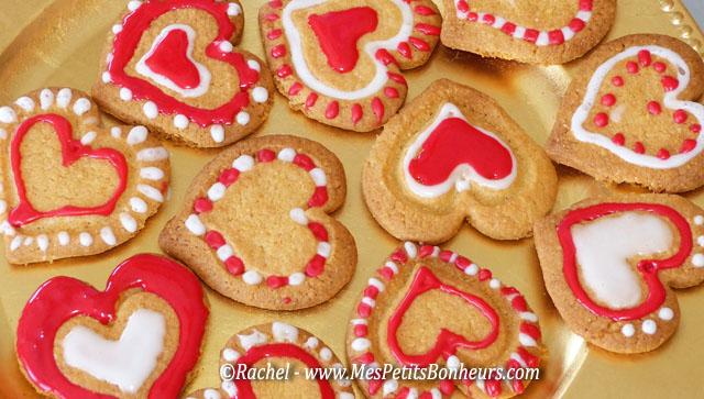 sablés saint valentin coeurs rouges et blanc