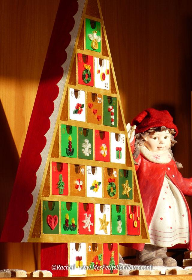 Quilling de no l pour mon calendrier de l 39 avent sapin en bois - Sapin calendrier de l avent ...
