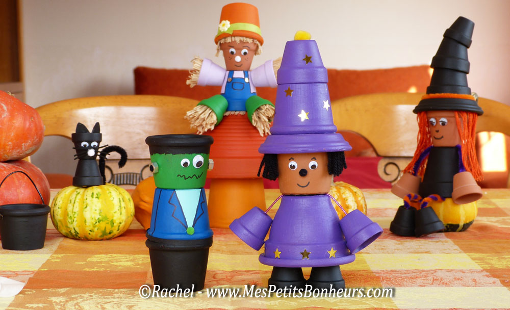 sorcier et monstre halloween_bricolage en pots de terre cuite