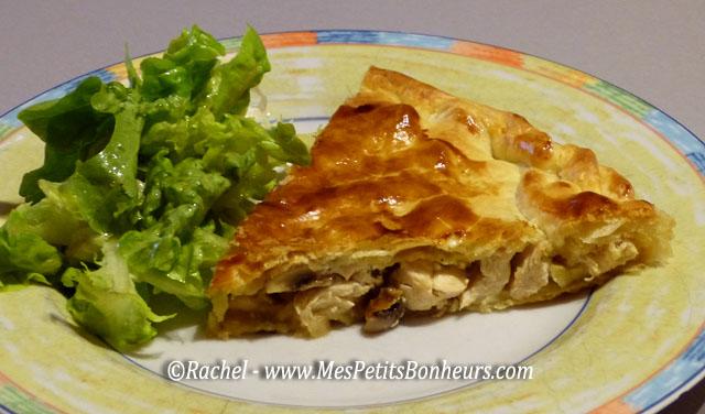 Recette facile tourte poulet champignons plat unique ou for Plat convivial pour 6 personnes