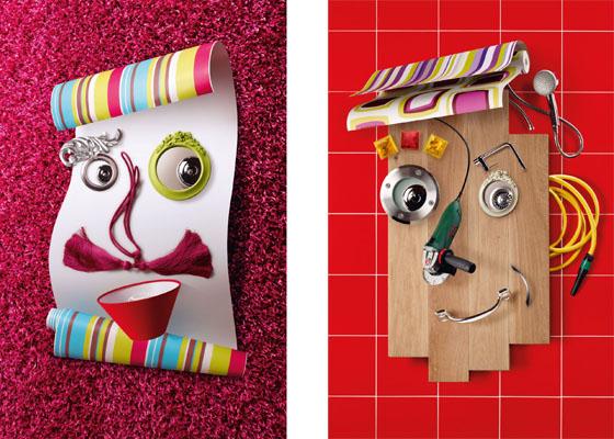 art visuel d tournement d objets pour des visages id e bricolage. Black Bedroom Furniture Sets. Home Design Ideas